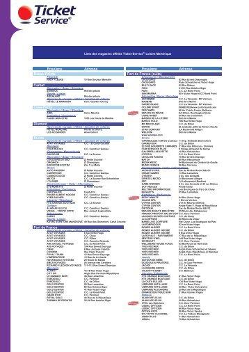 Liste Des Magasins Affilia C S Ticket Service Loisirs Edenred