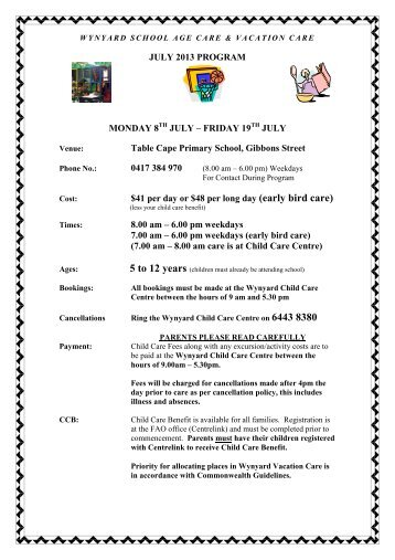 Vacation Care Program - 8 to 19 July 2013 - Waratah-Wynyard ...