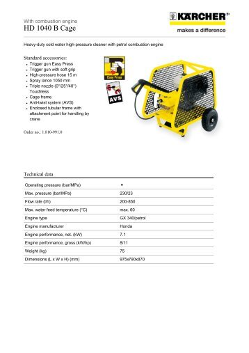 Karcher Pressure Washers HD 1040 B Cage - Saracen Distribution