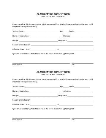 EARLY YEARS MEDICATION CONSENT FORM 1