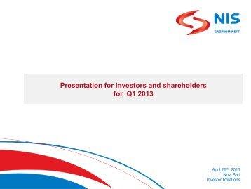 Q1 2013 - Investor Relations - NIS