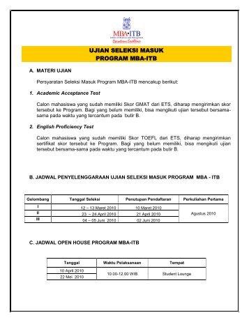 Petunjuk Pendaftaran Agustus 2010 - SBM ITB