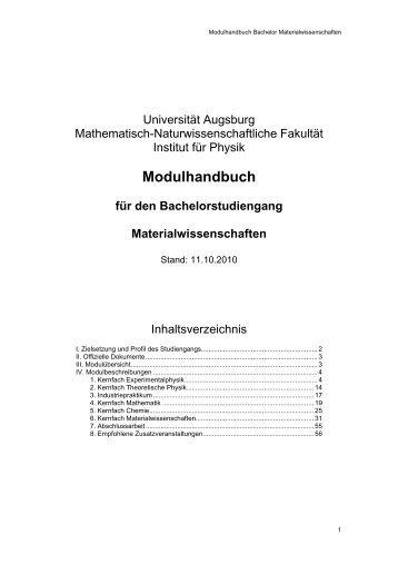 Modulhandbuch für den Bachelorstudiengang Materialwissenschaften