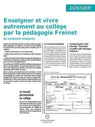 Enseigner et vivre autrement au collège par la pédagogie Freinet