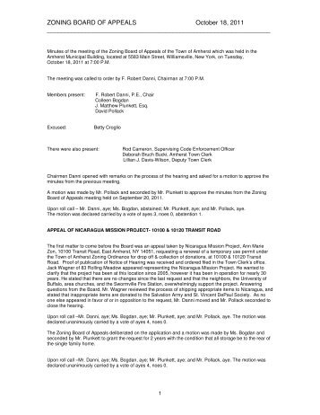 ZONING BOARD OF APPEALS October 18, 2011 - Town of Amherst