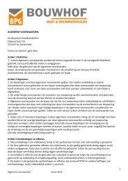 Algemene en leveringsvoorwaarden - BPG Bouwhof Groothandel