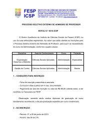 PROCESSO SELETIVO SIMPLIFICADO DE PROFESSOR - FESP