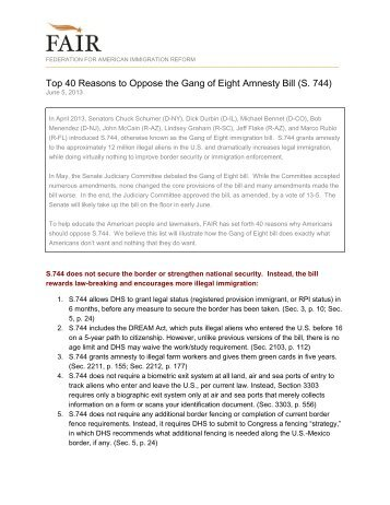 Top 40 Reasons to Oppose the Gang of Eight Amnesty Bill (S. 744)