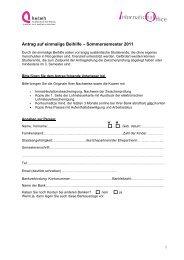Antrag auf einmalige Beihilfe – Sommersemester 2011