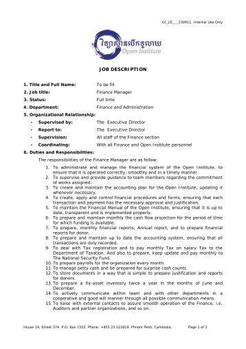 Job Description Of The Finance Manager  Financial Assistant Job Description