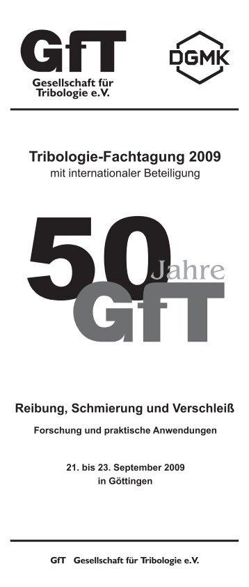 Programmheft Fachtagung_2009.cdr - Gesellschaft für Tribologie eV