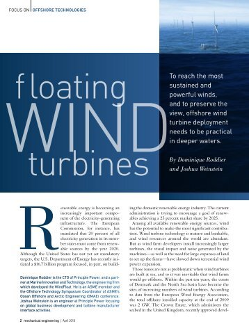 Floating Wind Turbines - Principle Power, Inc.