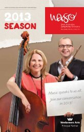 2013 Concert Diary. - West Australian Symphony Orchestra
