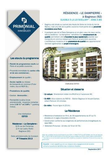 Fiche programme-Le Dampierre - Bagneux - Primonial Immobilier