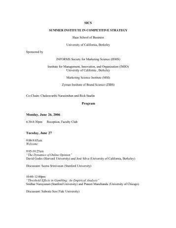 SICS Program Monday, June 26, 2006 Tuesday, June 27 - Emory ...