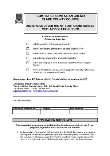 Assistance under the Arts Act Grant Scheme 2011 Application Form