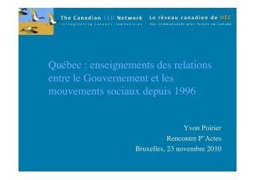 Québec : enseignements des relations entre le ... - Pactes Locaux