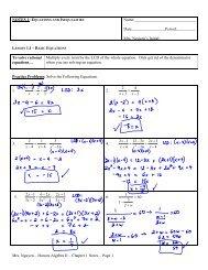 Mrs. Nguyen – Honors Algebra II – Chapter 1 Notes ... - Teacher