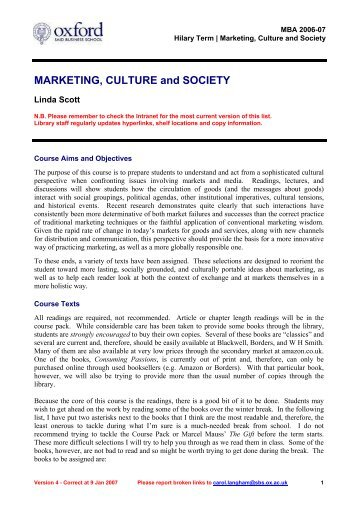 MARKETING, CULTURE and SOCIETY - CasePlace.org