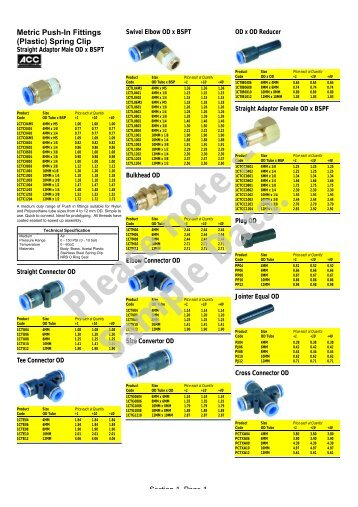 Metric Push-In Fittings (Plastic) Spring Clip - Air controls and ...