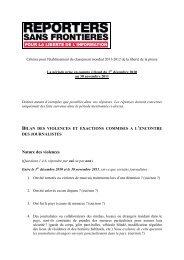 Critères pour l'établissement du classement 2011-2012