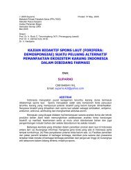 kajian bioaktif spons laut (forifera: demospongiae) - Farmasi Bahan ...