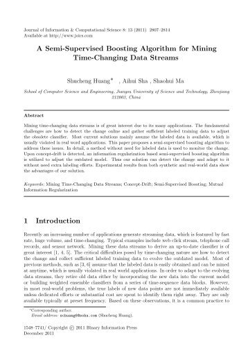 A Semi-Supervised Boosting Algorithm for Mining Time-Changing ...