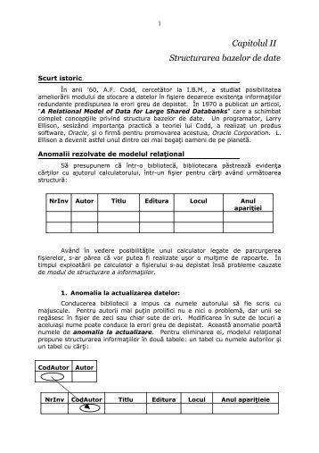 Capitolul II Structurarea bazelor de date