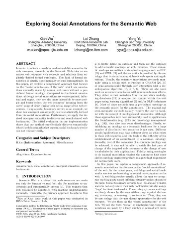 Exploring Social Annotations for the Semantic Web - WWW2006