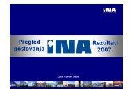 Pregled poslovanja Rezultati 2007. - Ina