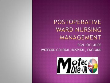 Post-operative Nursing Management - MOTEC LIFE-UK