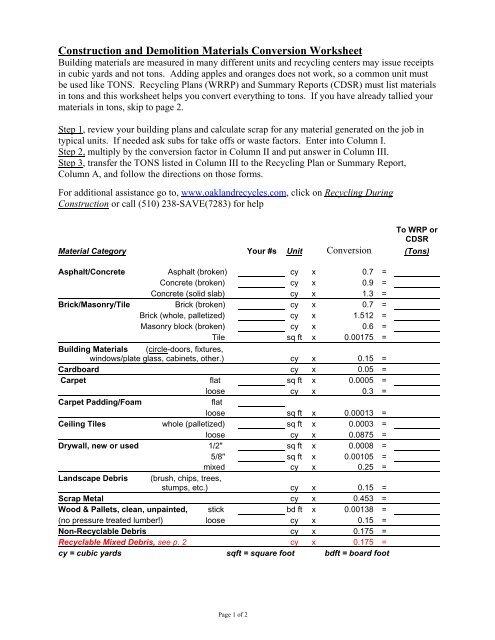 Materials Conversion Worksheet