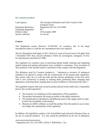 Regulation (EC) No 1223/2009 – On cosmetic products - Center for ...