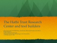 The Hathi Trust Research Center and tool builders - Data to Insight ...