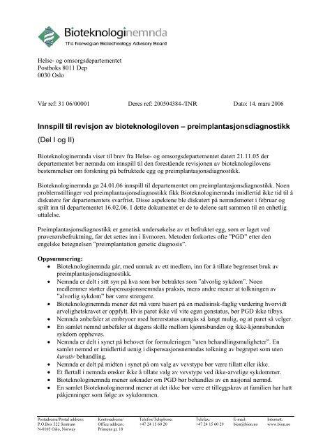 cea51c75d preimplantasjonsdiagnostikk, del I og II - Bioteknologinemnda