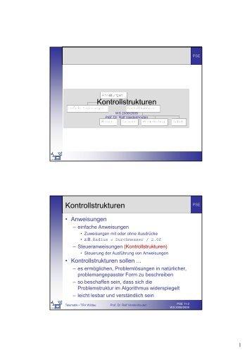 Kontrollstrukturen Kontrollstrukturen - Telematik TH Wildau