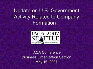 What Has Happened Since the 2006 Conference - IACA