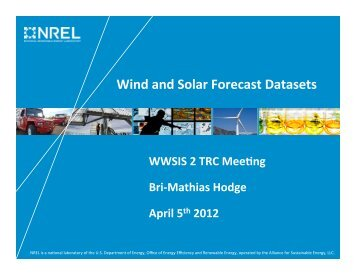 Wind and Solar Forecast Datasets - NREL