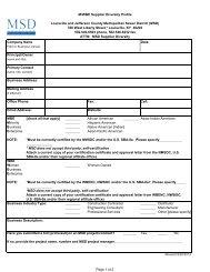 Supplier Diversity Profile Form - MSD
