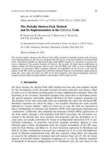 The Periodic Hartree-Fock Method and Its Implementation in the ...