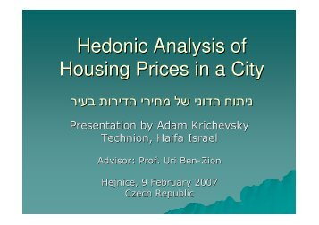 Hedonic Analysis of Housing Prices in a City