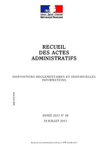 Recueil des actes administratifs n° 48 du 19 juillet 2011