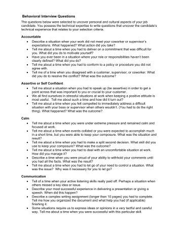 behavior description interview essay Sample behavioural questions by competency competency  describe a  situation when you were able to have a positive influence on the actions of others.