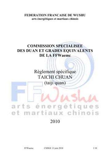 Règlement spécifique TAICHI CHUAN (taiji quan) 2010