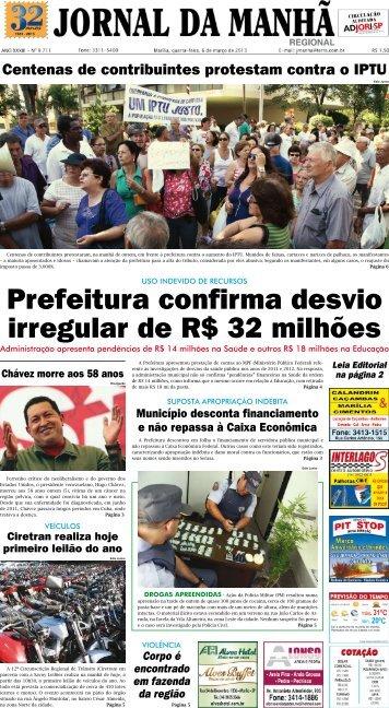 Prefeitura confirma desvio irregular de R$ 32 ... - Jornal da Manhã