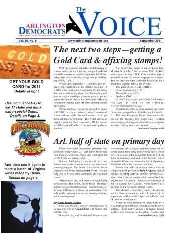 The next two steps—getting a Gold Card & affixing stamps! Arl. half ...