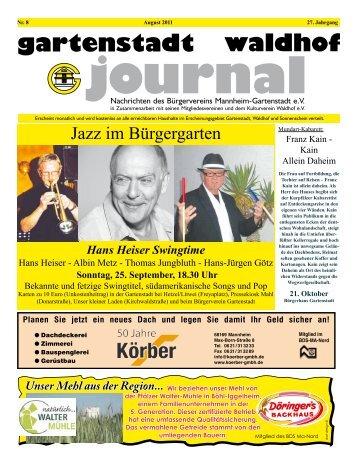 Gartenstadt Waldhof Journal 08/2011 - Bürgerverein Gartenstadt