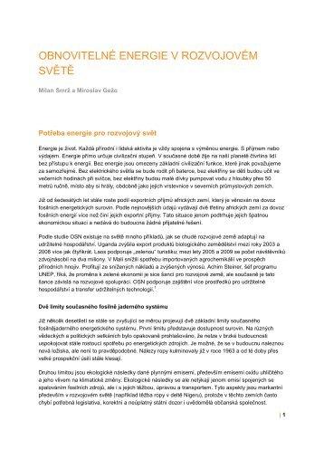 Obnovitelné energie v rozvojovém světě - Udrzitelnost.cz