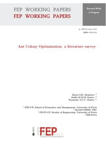Ant Colony Optimization: a literature survey - FEP - Working Papers