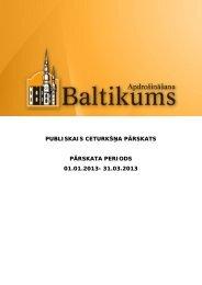 Finanšu rādītāji par 2013.gada 1.ceturksni - Baltikums